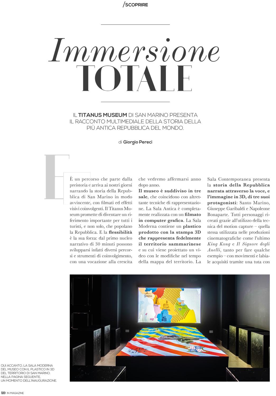 In Magazine parla del nostro ultimo lavoro di produzione del museo multimediale Titanus Museum di San Marino
